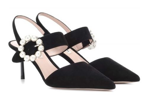 미우미우 펌프스 Embellished suede pumps